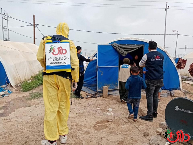 Dary Human Organization disinfected 2,300 tents in the IDPs camps of Ninawa governorate